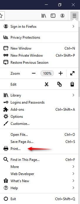 تنظیمات پرینت با مرورگر Firefox