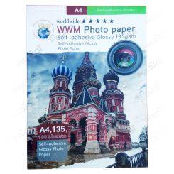 کاغذ عکس A4 براق و پشت چسب دار 135 گرمی