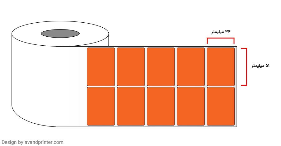 لیبل (برچسب) پی وی سی دو ردیفه نارنجی PVC Label 34×51