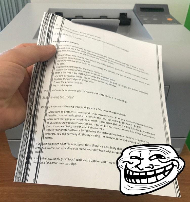 خطوط سیاه روی صفحه هنگام پرینت و یا چاپ نشدن بخشی از متن- علل و چگونگی اصلاح آنها