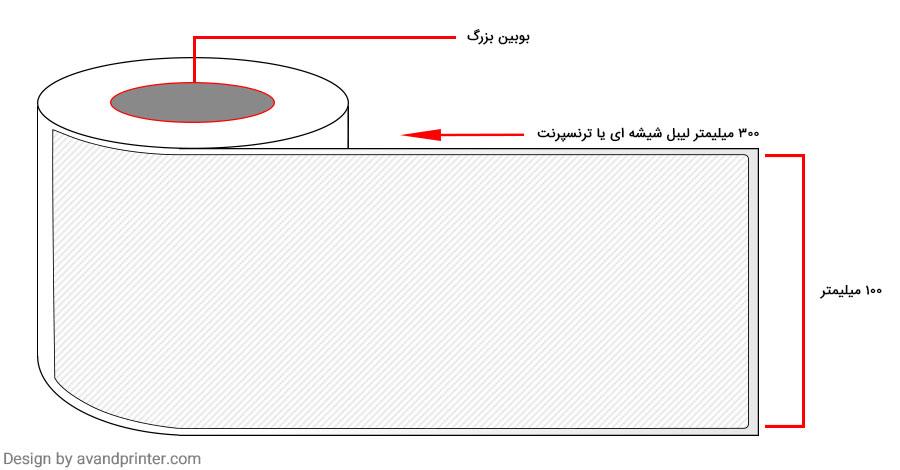 لیبل (برچسب) بی رنگ 100×300 Transparent Label بوبین بزرگ