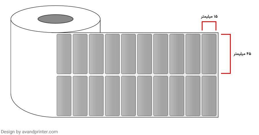 لیبل (برچسب) متال دو ردیفه Metal Label 15x45