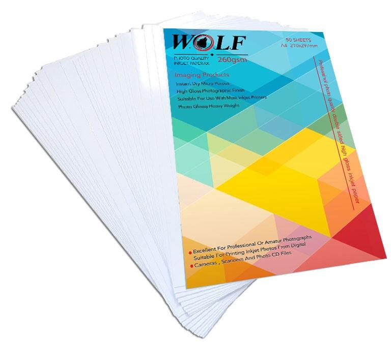 کاغذ عکس 260 گرم دورو A4 براق WOLF