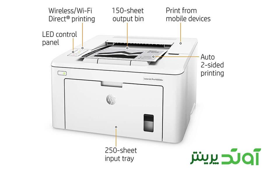 این پرینتر متن و گرافیک را به صورت تک رنگ و با وضوح بسیار بالا چاپ می کند