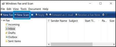 برنامه Windows Fax and Scan