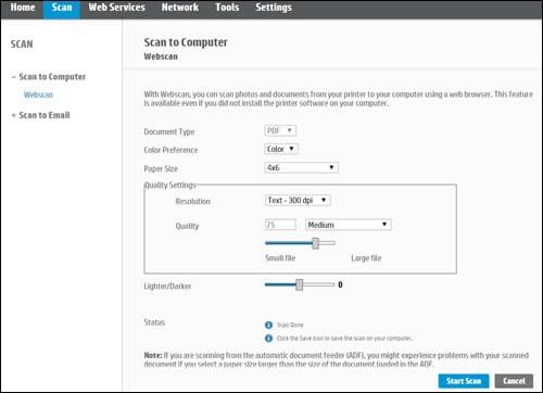 اسکن از طریق سیستم عامل Webscan (کرومبوک)