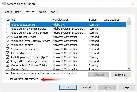 پنهان کردن تمامی سرویسهای مایکروسافت