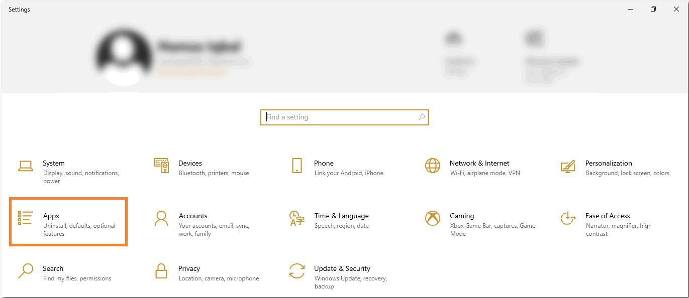 Apps and features را انتخاب کنید