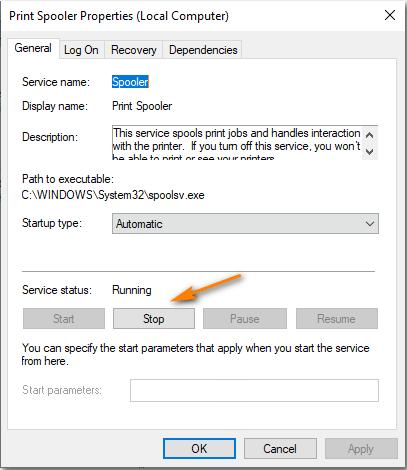 توقف سرویسهای Printer Spooler