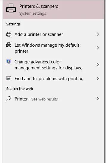 تایپ کردن Printers and Scanners در نوار جستجو